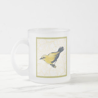 Antiqued Oriole Bird Frosted Glass Coffee Mug