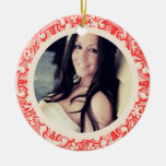 ANTIQUED Double-Sided CERAMIC ROUND CHRISTMAS ORNAMENT