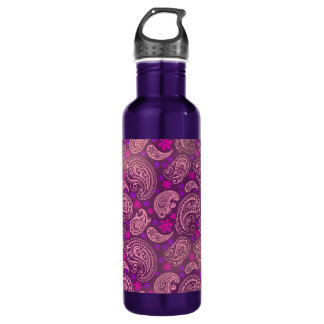 Antiqued Pink & Purple Paisley Stainless Steel Water Bottle