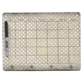 Antiqued stars faded calendar dry erase board