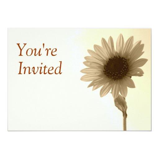 Antiqued Sunflower Invitation