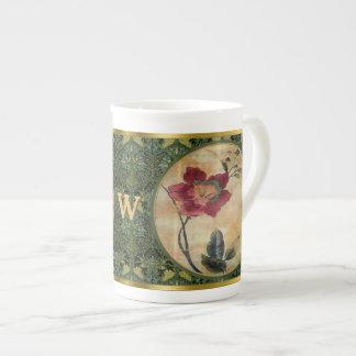 Antiqued Victorian Hibiscus (Monogrammed) Tea Cup