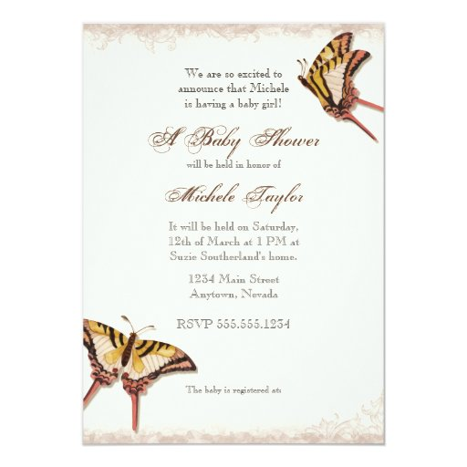 Antiqued Victorian Rose Girl Baby Shower Invite