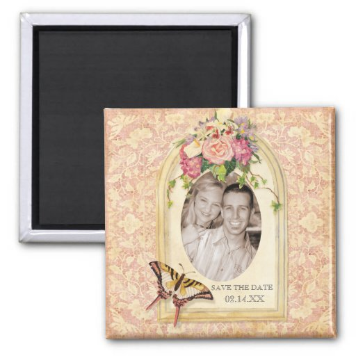 Antiqued Victorian Rose Save the Date Magnet