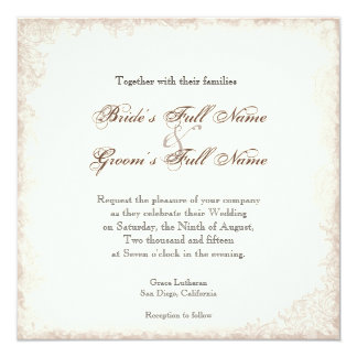 Antiqued Victorian Rose Wedding Invitation