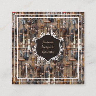 Antiques  Collectibles Vintage Tools Square Business Card
