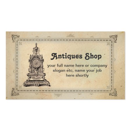 Vintage Clock Antiques and Collectibles Shop Business Cards