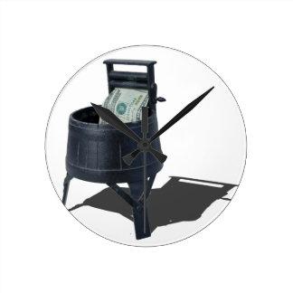 AntiqueWashingMachineMoney011815.png Round Clock