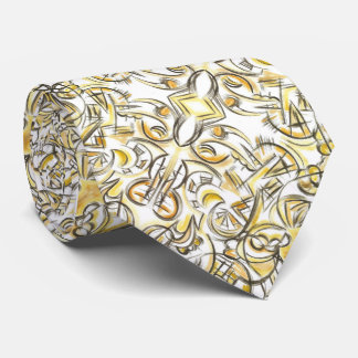 Antiquing-Hand Painted Abstract Print Pattern Neck Tie