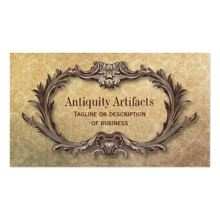 Bronze Ornate Antique Frame Weathered Damask Pattern Antiquity Business Cards