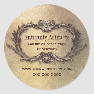 Antiquity Parchment Damask Promotional Round Stickers