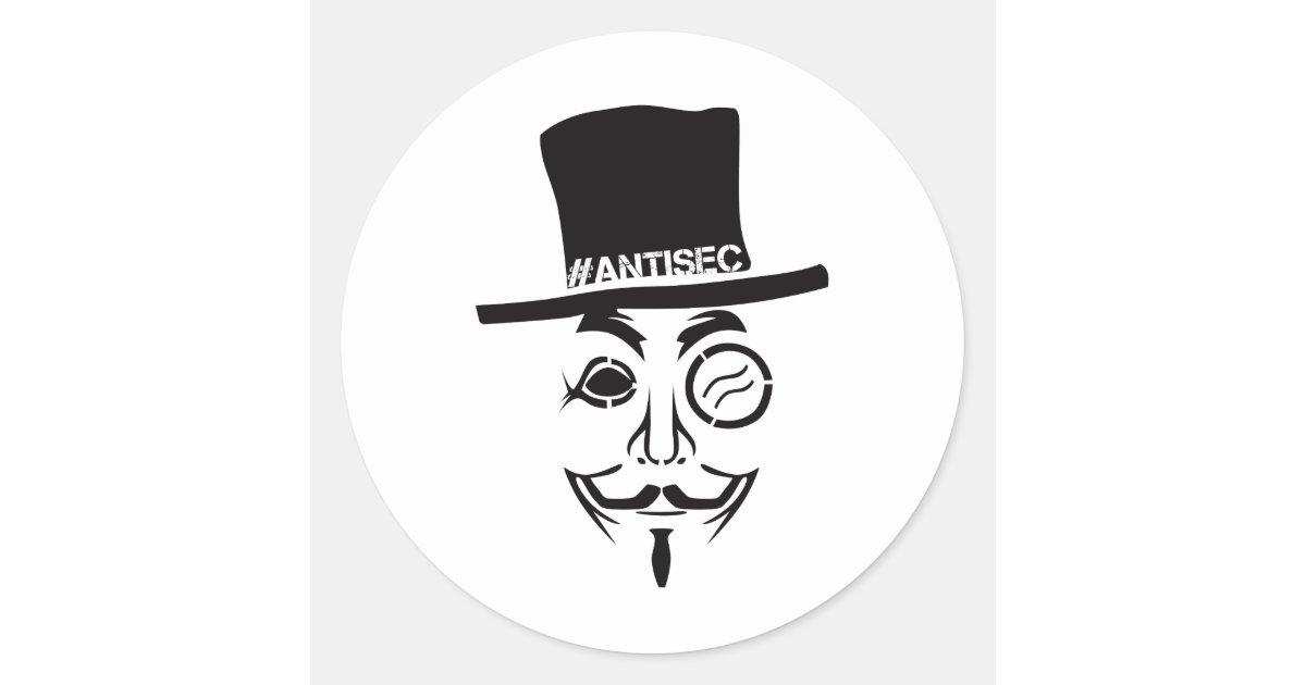 AntiSec AntiSecurity Hacker Logo Classic Round Sticker ...
