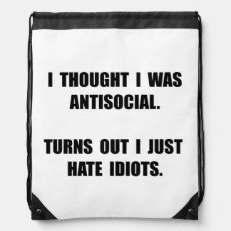Antisocial Idiots Drawstring Bag