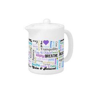 AntiStress Calm Relaxing Typography Teapot