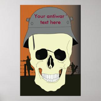 Antiwar German Skull template Poster