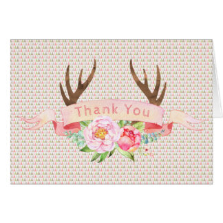 Antler Baby Shower Birthday Party Thank You Cards