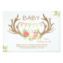 Antler Baby Shower Invitation Deer Woodland Floral