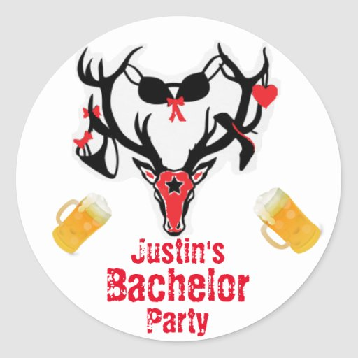 antler bachelor party classic round sticker zazzle. Black Bedroom Furniture Sets. Home Design Ideas