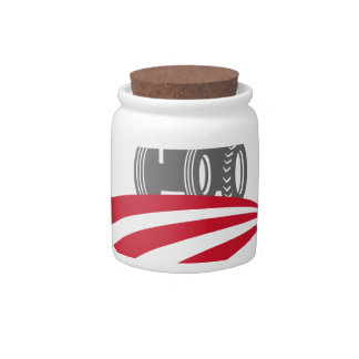 Antler Farm Tractor American Flag Retro Candy Dishes