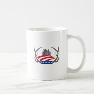 Antler Farm Tractor American Flag Retro Coffee Mug