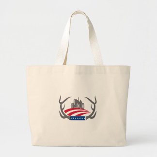 Antler Farm Tractor American Flag Retro Large Tote Bag