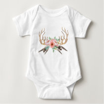 Antler Floral Baby Outfit Baby Bodysuit