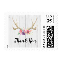 Antler Rustic Stamps Postage Thank You Floral