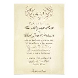 Antler Rustic Wedding Invitation Vintage Paper