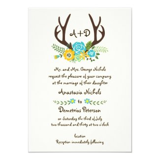 Antlers and aqua flowers monogram woodland wedding