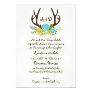 Antlers and aqua flowers monogram woodland wedding 5