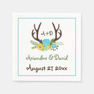 Antlers and flowers woodland monogram wedding standard cocktail napkin