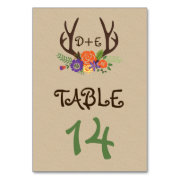 Antlers and orange flowers wedding table number table card