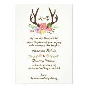 Antlers and wild flowers monogram woodland wedding 5