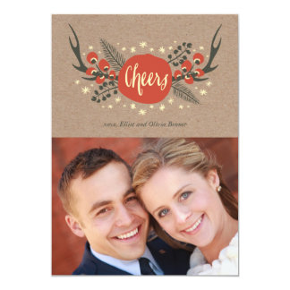 Antlers, Berries and Pine Holiday Photo Card Personalized Announcement