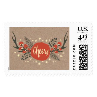 Antlers Berries and Pine | Holiday Postage Stamp