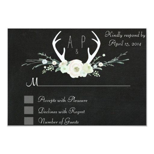 """Antlers Chalkboard floral RSVP Card 3.5"""" X 5"""" Invitation Card"""