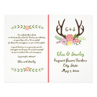 Antlers & coral flowers monogram wedding program