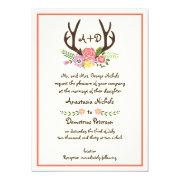 Antlers & coral flowers monogram woodland wedding 5