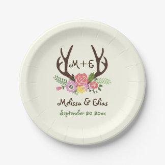 Antlers & coral pink flowers rustic wedding paper plate
