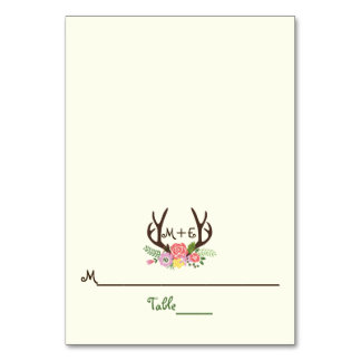 Antlers & coral pink flowers wedding place card