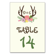 Antlers & coral pink flowers wedding table number table card