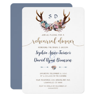 Antlers Dusty Blue Blush Floral Rehearsal Dinner Invitation