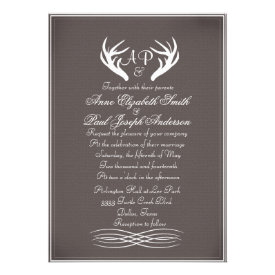 Antlers Elegant Rustic Wedding Invitations Gray