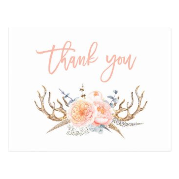 Aztec Themed antlers feathers thank you card, baby shower postcard