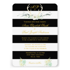 Antlers Floral black and white stripes invitations Personalized Announcements