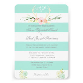 Antlers Floral green and white stripes invitations Invitation