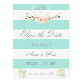 Antlers Floral green white stripes | Save the Date Postcard