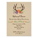 Antlers floral monogram wedding rehearsal dinner card