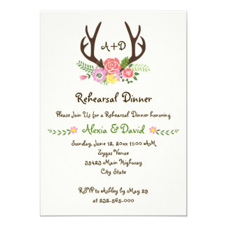 Antlers floral monogram wedding rehearsal dinner 5x7 paper invitation card