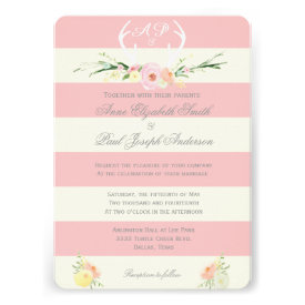 Antlers Floral Pink and beige stripes invitations Invitations